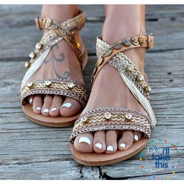 985b46267291 Gorgeous Bohemian Beach Sandals 👡 Flip Flops Handmade Vegan Leather ...