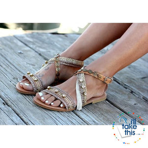 Gorgeous Bohemian Beach Sandals - Flip Flops Handmade Vegan Leather Straps wrapped in Gold/Pink Trim