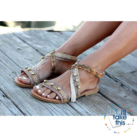 Image of Gorgeous Bohemian Beach Sandals - Flip Flops Handmade Vegan Leather Straps wrapped in Gold/Pink Trim - I'LL TAKE THIS