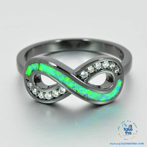 Image of 💍 Infinity Green Fire Opal Ring Accented with Crystal studs Black Gold Filled Women's Rings - I'LL TAKE THIS