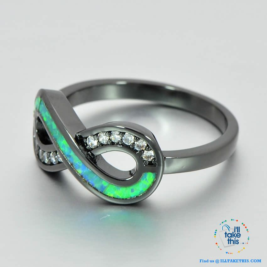 💍 Infinity Green Fire Opal Ring Accented with Crystal studs Black Gold Filled Women's Rings - I'LL TAKE THIS