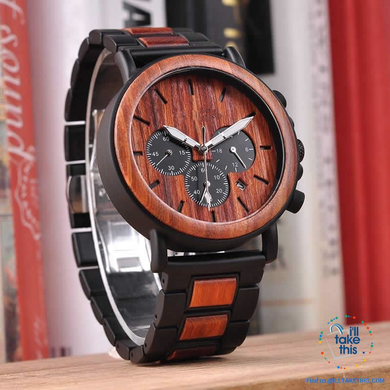 Unique Wooden Watches with Date Display individually designed to impress - I'LL TAKE THIS