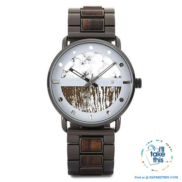 Wood Metal Men's and Women's Luxury style Watches, the Ultimate Timepieces with date display - I'LL TAKE THIS