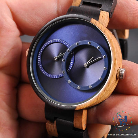 Image of ⌚ Dual time-zoned, Unique Design Ultra-thin Wooden watch, themed to impress. - I'LL TAKE THIS
