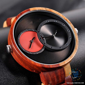 ⌚ Dual time-zoned, Unique Design Ultra-thin Wooden watch, themed to impress.