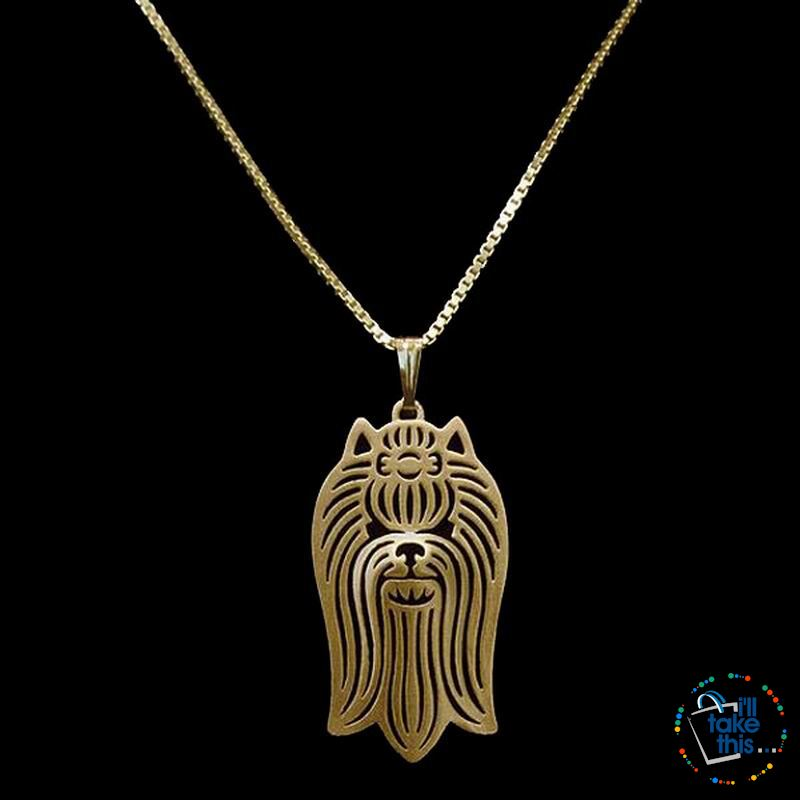 Yorkshire Terrier Profile Pendant in Silver, Gold or Rose Gold plating with BONUS Link chain - I'LL TAKE THIS
