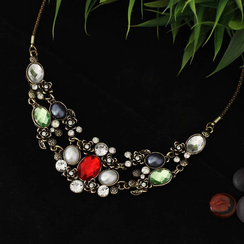 Chica Fashion Jewellery By Fizz : Multicoloured Precious Gemstone Necklace