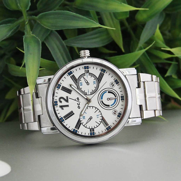 Vulcan Series: White & Blue Metal Chronograph Watch