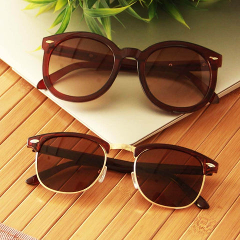 Octa Vintage Oval & Horned Rimmed Sunsnapper (Brown)