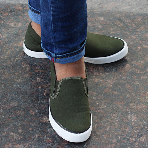 Funky Casual Slip On Sneakers : Olive