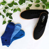 Lace Up Sneakers (Black) and Pack of 3 Socks for Men