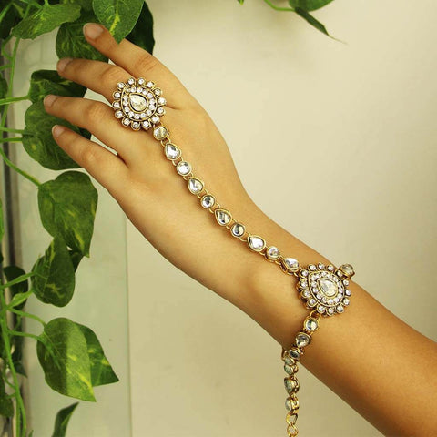 White Kundan Bracelet with Ring