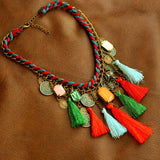 Multicolor Thread Coin Necklace
