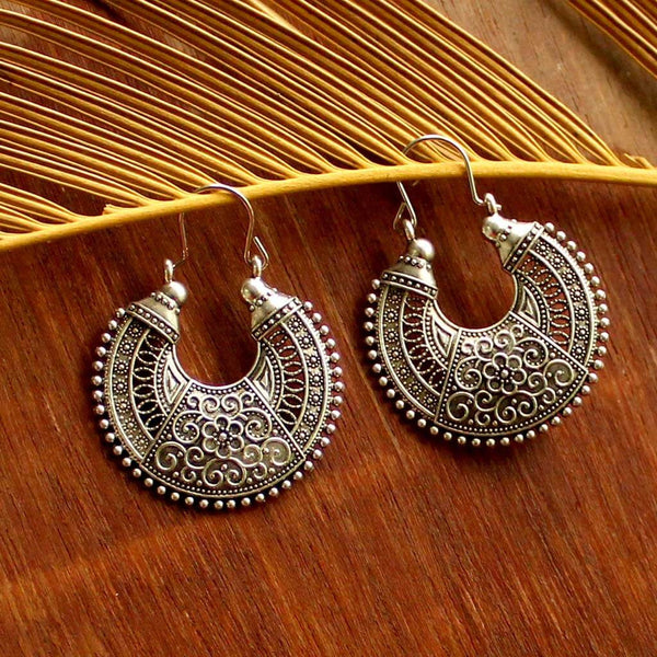 Hanging Hoop Silver Earrings