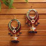 Chandbali Meenakari Hook Earrings