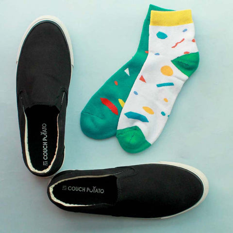 Slip On Sneakers (Black) & Pack of 2 Socks for Men