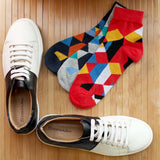 Trendy Lace Up Sneakers Color Blocked & Pack of 3 Socks for Men
