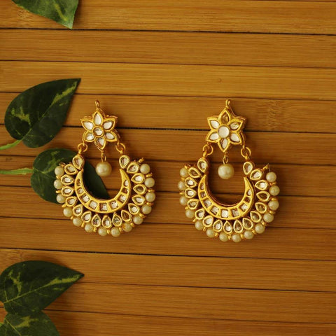 Gold Kundan Pearl Earrings