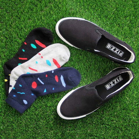 Slip On Sneakers (Black) and Pack of 3 Socks for Men