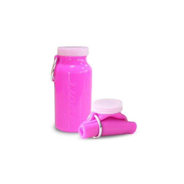 Silicone Foldable Water Bottle: Pink