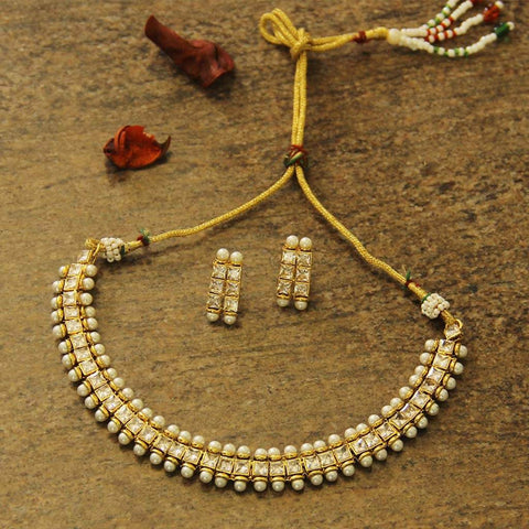 Golden Kundan Necklace Set With Pearls