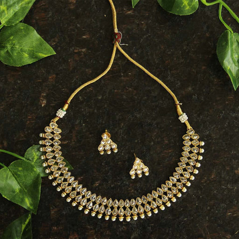 Silver & Gold Kundan Necklace Set