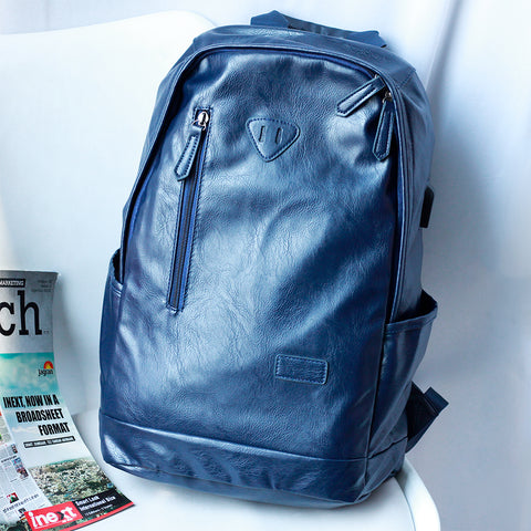 USB Charging Port Multi-pocket Blue Backpack