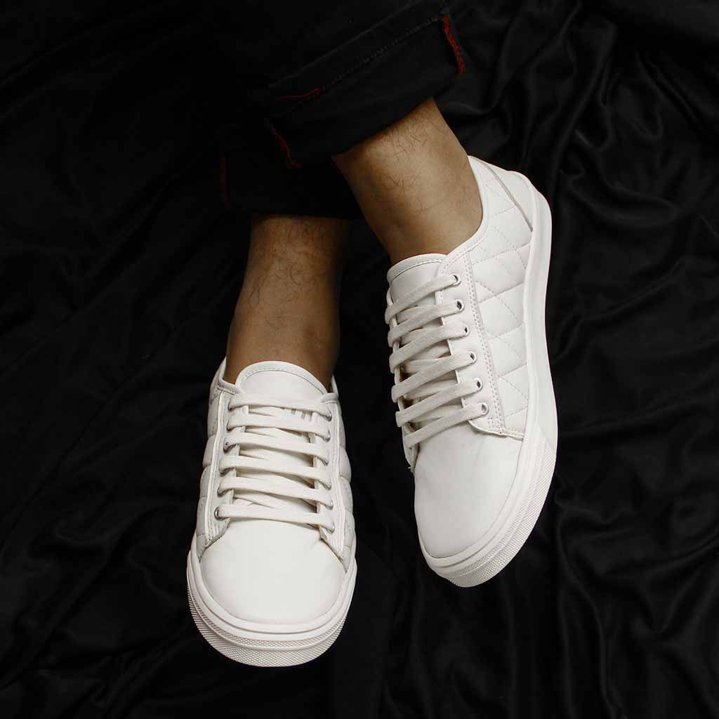 Trendy Lace Up Sneakers : White