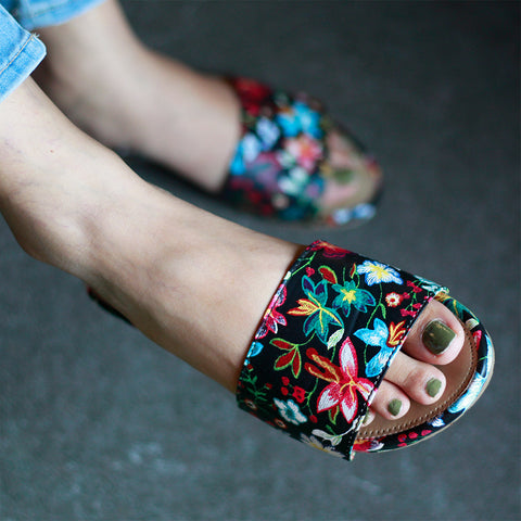 Black Floral Open Toe Flats