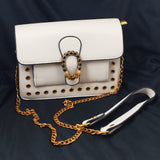 Metal Chain Sling Bag with Rivets