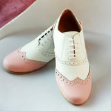 Peach & White Oxford Shoes