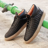 Men's Quilted Black Mid-Top Sneakers