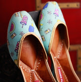 Women Quirky Print Light Blue Juttis