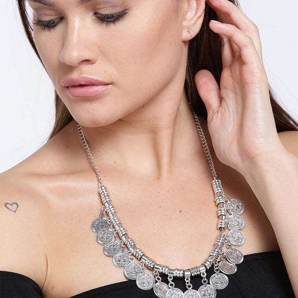 Traditional Silver Toned Coin Necklace