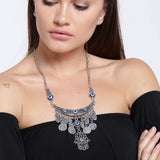 Traditional Oxidized Coin & Stones Necklace for Women