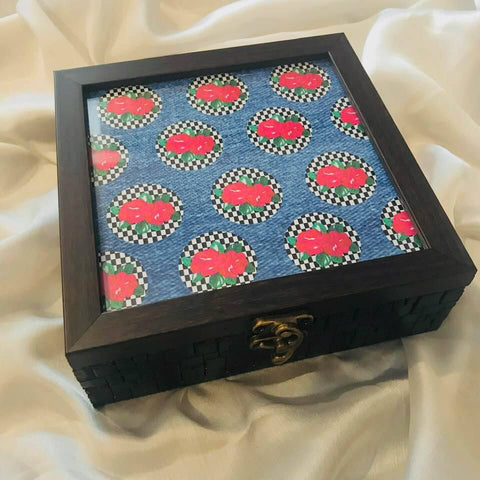 Handpainted Denim Roses Wooden Box
