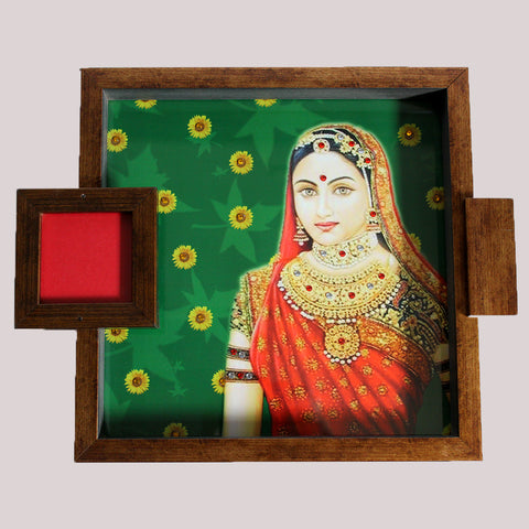 Handpainted Green Rani Wooden Tray