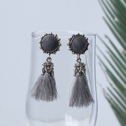 Handmade Tassel & Stone Vintage Earrings
