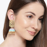 Meenakari Gold Matte Jhumki Earrings