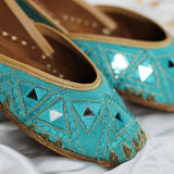 Mirror Work Embroidered Blue Juttis
