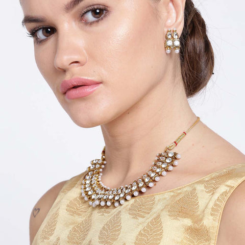 Gold Plated Choker Necklace Set With Kundan Polki Pearl
