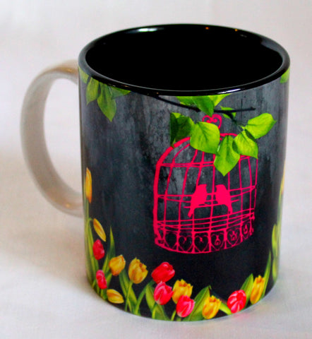 Floral Cage Print Mugs - Set Of 2