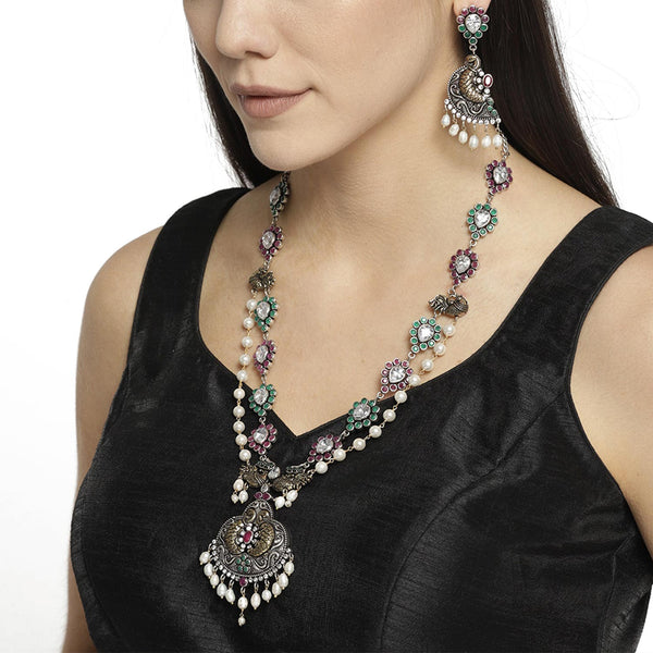 Multicolor Oxidized Jewellery Set with Pearls