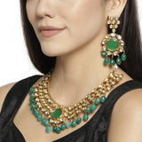 Traditional Kundan Stones & Green Beads Choker Necklace set