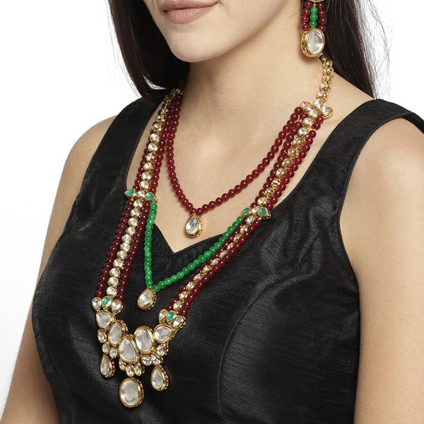 Multicolor Layered Kundan Stone-Studded Jewellery Set