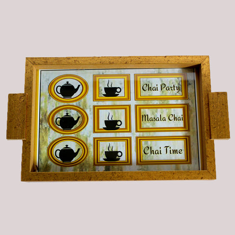 Handpainted Chai Party Wooden Tray
