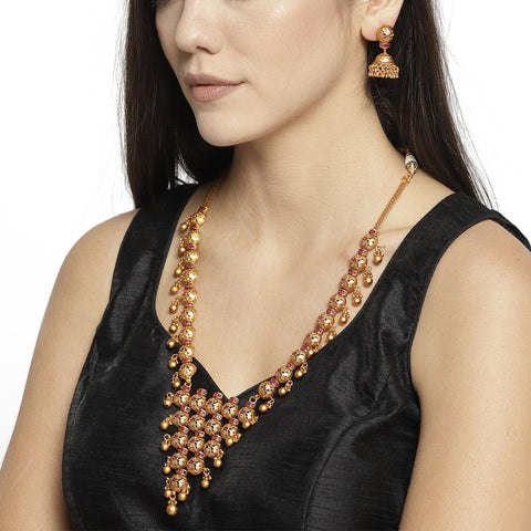 Gold Tone Chunky Necklace Set With Earrings