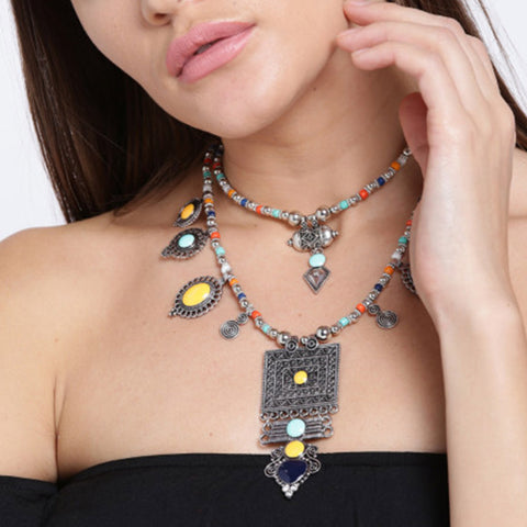 Silver Oxidized Multicolor Necklace