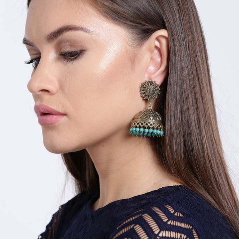 Gold & Turquoise Beads Earrings
