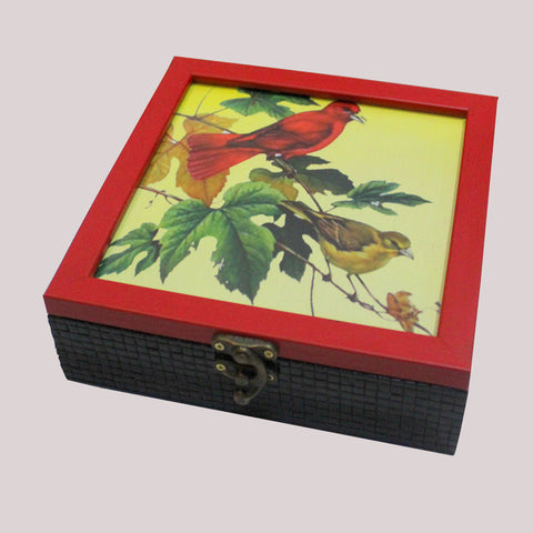 Handpainted Red Bird Wooden Box